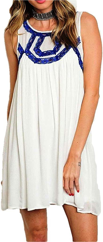Entro Women's Relaxed Loose Fit Sleeveless Party Cocktail Mini Dress