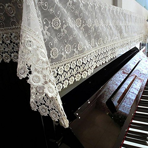 TINE Piano cover Stofhoes Piano handdoek Kant Borduurwerk bloem Doek kunst Half masker Universeel Eenvoudige Beige 90 * 180CM