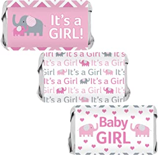 Pink and Gray Elephant Girl Baby Shower Mini Candy Bar Wrappers | 54 Stickers