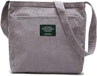 Ulisty Damen Cord Mode Schultertasche Beiläufig Handtasche Einkaufstasche Aprikose