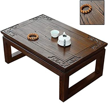 Bay Window Table Pure Solid Wood Small Coffee Table Tatami Table Low Table Old Elm Tea Table Home Kang Table Solid Wood Floor