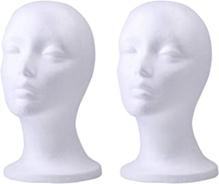 Foraineam 2 Pack Female Styrofoam Mannequin Head Cosmetics Model Head Wig Display Foam Mannequin Glasses Hat Hairpieces Stand