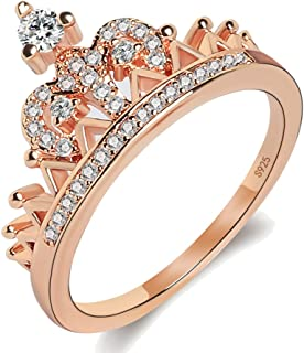 Women's Crown Tiara Rings Exquisite 18K Rose Gold Plated Princess Tiny CZ Diamond Accented Promise Rings