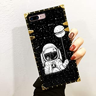 Bonoma Astronaut Wallpaper Black Phone Case for iPhone 7 8 Plus Square Edge Luxury Cool Girl Chic Shockproof Back Cover Case