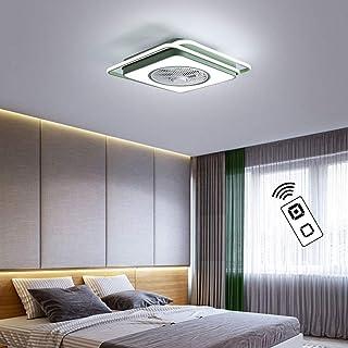 XMYX Ventilador de Techo con Luz y Mando a Distancia, Ventilador Silencioso Dormitorio Lámpara de Techo Hierro Forjado y Madera Ventiladores de Techo Invisible, 70W,Verde