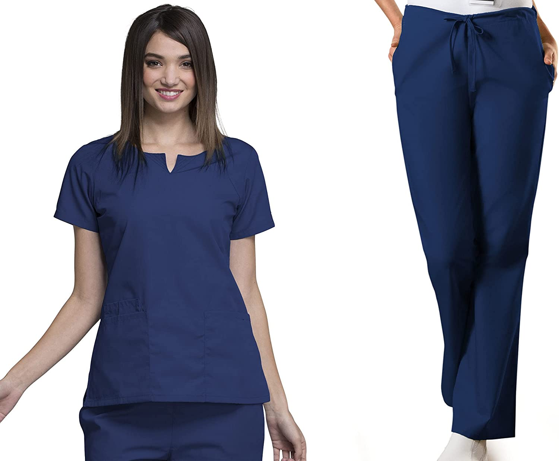 Workwear Women Scrubs Set Round Top Genuine Free Shipping Drawstring Neck Pant 4824 Max 83% OFF