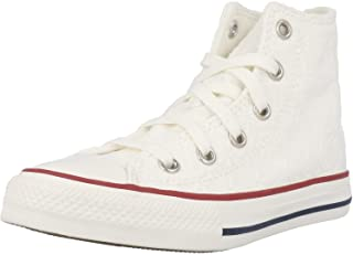 Converse Chuck Taylor all Star Little Miss Chucks Hi Bianca/Blu (White/Midnight Navy) Cotone Ragazzo Formatori Scarpe