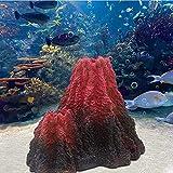 LAVECAR Decoración de volcán de resina roja y marrón para acuario pecera, tortuga de peces Betta escondite de peces cuevas de acuario ornamentos para acuarios