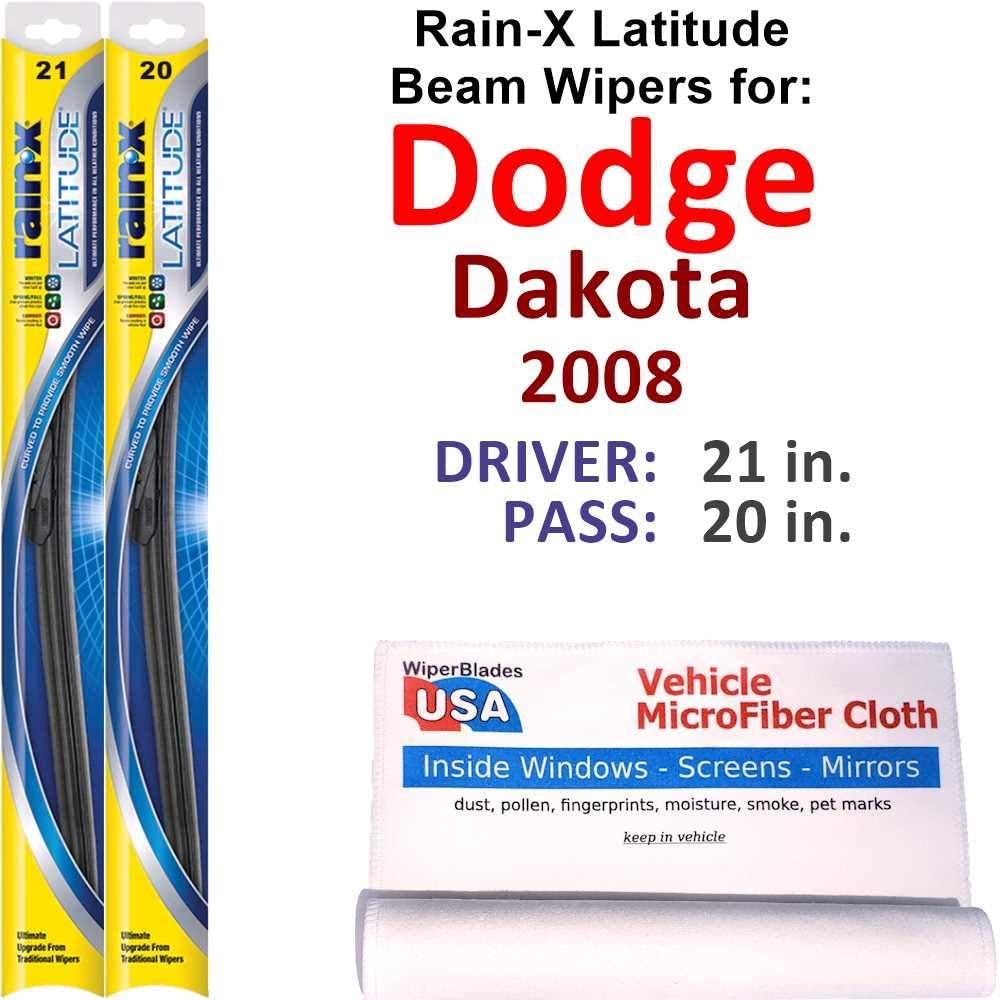 Minneapolis Mall Rain-X Latitude Beam Wiper Blades for Complete Free Shipping 2008 Dakota Set Dodge Rain
