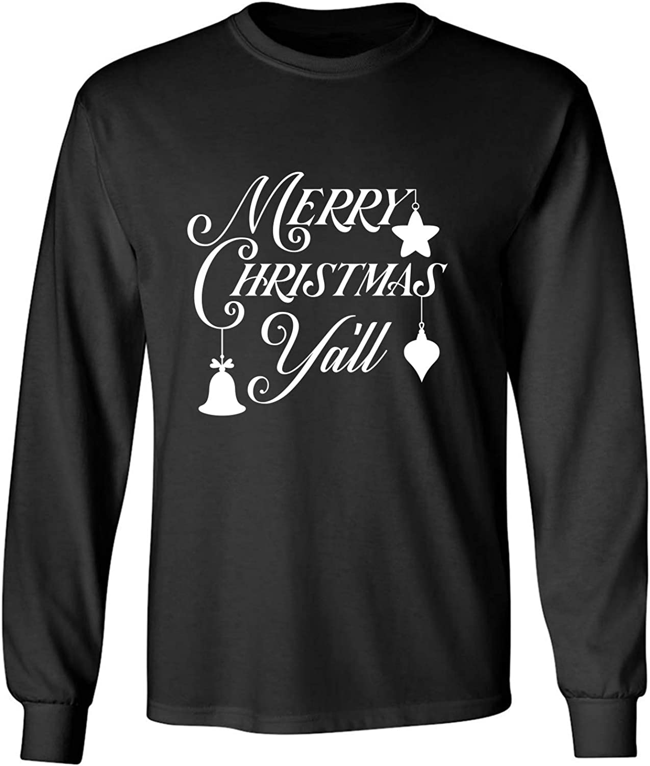 Merry Christmas Y'all Adult Long Sleeve T-Shirt in Black - XXXXX-Large