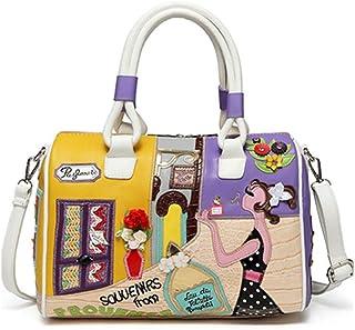 FTSUCQ Womens Vintage Satchels Shoulder Handbags Casual Messenger Boston Bag Hobos Satchels Purse