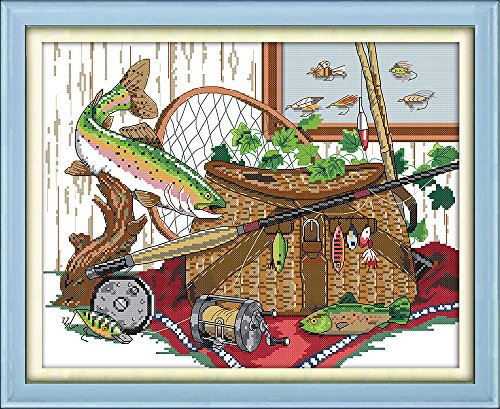 CaptainCrafts New Cross Stitch Kits Patterns Embroidery Kit - Fishing Gear (Stamped)