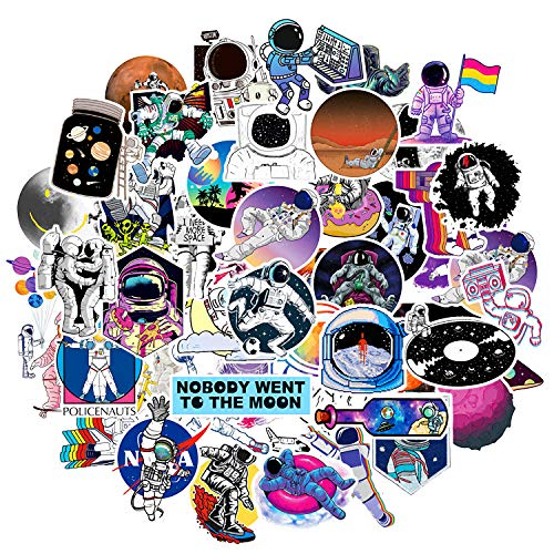 PHOGARY NASA Astronaut Vsco Sticker Spaceman Graffiti Decals for Kids, Teens Decorate Car, Moto, Helmet, Bike, Laptop, Pad, Skateboard, Luggage, Hydroflasks, Water Bottle, 50pcs Waterproof Stickers