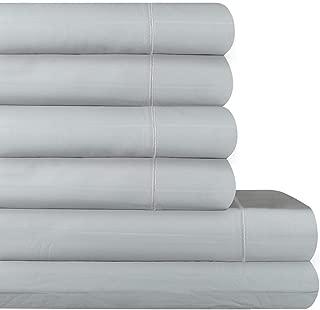 AURAA Comfort 600 Thread Count Extra Long Staple Cotton Thin Stripe Sheet Set,6 Piece Set, Sateen Weave, Fits Upto 16