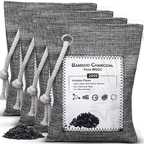 WGCC Activated Bamboo Charcoal Air Purifying Bags, [4 Pack 200g Each] Odor eliminator Odor Absorber Natural Fresh Bags - Kid & Pet Friendly Air Fresheners for Home, Car, Closet, Pets and Basement