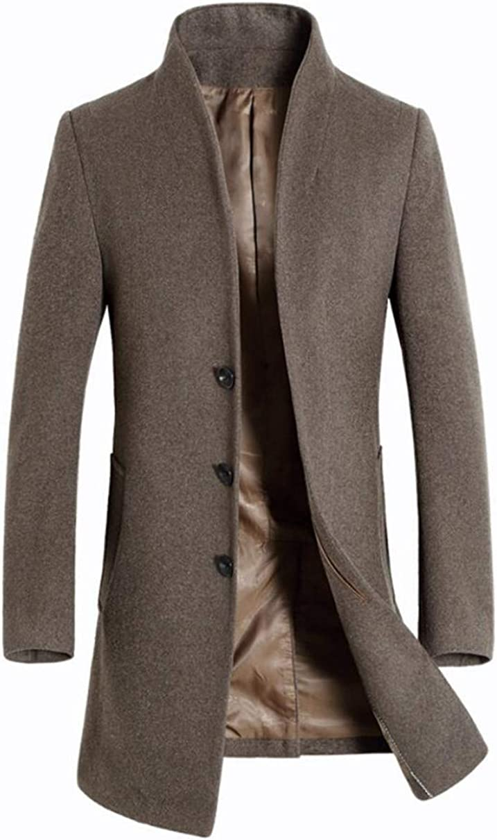 Cafuny Mens Wool Blend Stand Collar Pea Coat Single Breasted Trenchcoat Overcoat