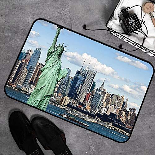 JINGJIA Microfaser Badematte ,antirutschfest Badeteppich,New York, Freiheitsstatue im Hafen von NYC Urban City Print Wahrzeichen der Stadt, Multicolor,Badvorleger mit Memory Schaum waschbar 45x75 cm