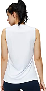 MIER Women's Athletic Sleeveless Workout Shirts UPF 50 Yoga Running Tank Tops Quick Dry Outdoor Activewear Muscle Tee