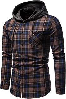 Hooded Cardigan Men Plaid Work Shirts Long Sleeve Lattice Sports Top Slim Fit Hoodie Button Splice Sweatshirt with Chest P...