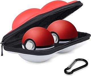 Sunjoyco ポータブルキャリーケース Nintendo Switch モンスターボール2個用 保護ハードトラベルケースバッグ ポケボールとコントローラーに対応 ポケモン レッツゴーピカチュウ イービーゲーム用 (2イン1 ケース)
