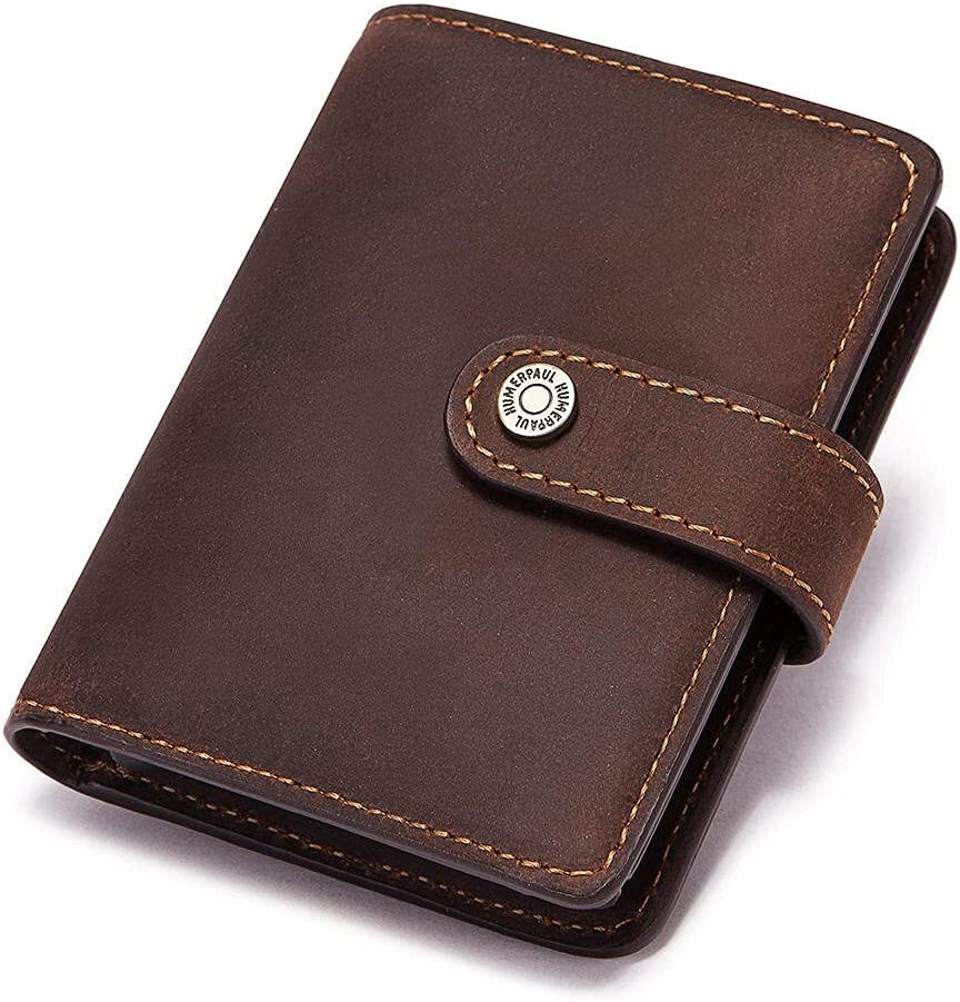 Rfid Blocking Protection Men ID Credit Card Holder Wallet Cow Leather Metal Aluminum Business Bank Card Case Male Smart Wallet (Coffee)