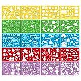 luckything 20 Schablonen Set, Aus Kunststoff, Zeichenschablonen Muster Für Bullet Journal, Scrapbooking, Fotoalbum, Gästebuch, DIY Geschenkkarten Schablonen Zeichen-Kit Und Über 300 Formen
