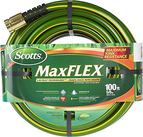 "Swan Products SMF58100CC Scotts MaxFLEX Lightweight Garden Hose with Crush Proof Couplings 100' x 5/8 "", Green"