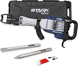 Stark Elite 1500W ATV Demolition Jack Hammer 2-Bits Point Chisel Bull Flat Concrete Drill Breaker Swivel Handle w/Case