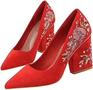 THE LONDON STORE Women's Red Velvet Retro Nightclub High Heel Embroidery Line Flower Pumps