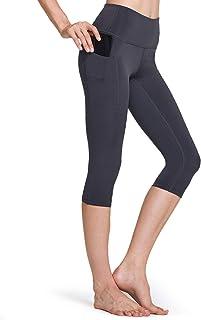 TSLA Yoga 17 Inches Capri Mid-Waist Pants w Hidden/Side Pocket, Pocket Aerisupport(fgc24) - Charcoal, X-Small (Size 4-6_Hi...