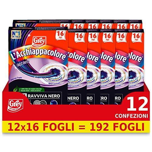 Grey Acchiappacolore Splendinero, Fogli Ravviva Intensità Capi Neri, Confezione Risparmio 12 Confezioni Da 16 Fogli (192 Foglietti) - 800 g