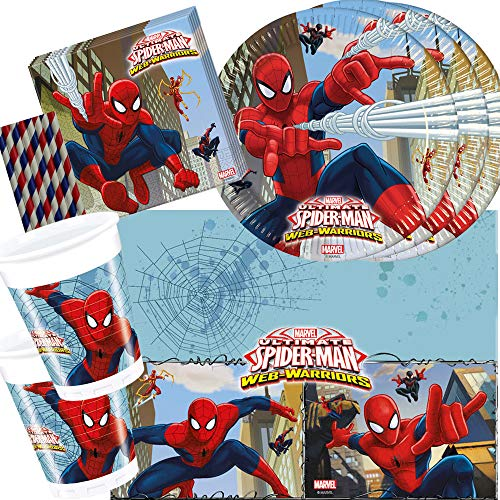 spielum 45-teiliges Party-Set Spiderman Web Warriors - Teller Becher Servietten Tischdecke Trinkhalme für 8 Kinder