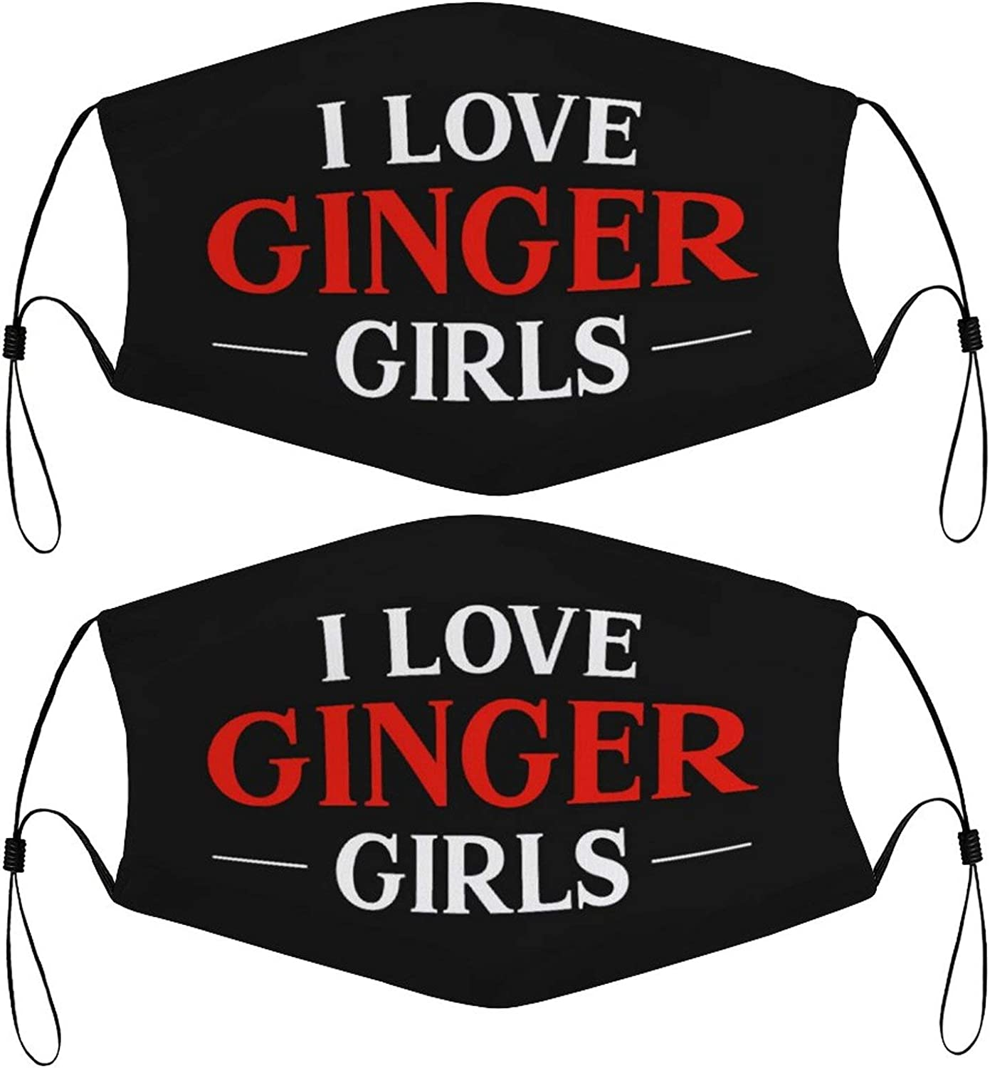 Love Ginger Girls Redhead Kids Face Masks Set of 2 with 4 Filters Washable Reusable Breathable Black Cloth Bandanas Scarf for Unisex Boys Girls
