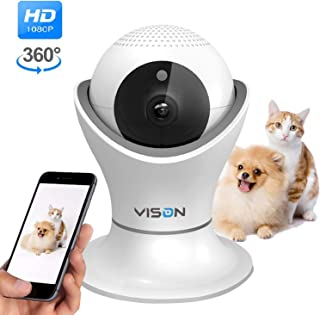 VINSION HD 1080p Pet Camera,Dog Camera 360° Pet Monitor Indoor Cat Camera with Night Vision and Two Way Audio