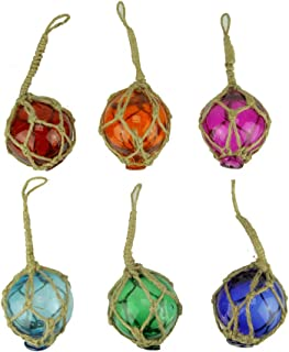 Chesapeake Bay Colorful Mini Glass Floats in Fishing Net Nautical Ornaments Set of 6