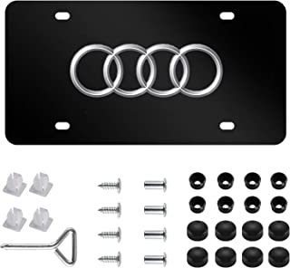 Audi Logo Stainless Steel Front License Plate,with Screw Caps Cover Set Suit, for Audi. (DIY)