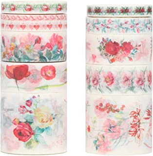 Molshine Floral Washi Masking Tape Set of 10, Spring Flower Decorative Sticky Paper Tapes for DIY Craft, Gift Wrapping, Bullet Journal, Planner, Scrapbooking (A)