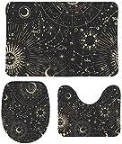 FETEAM Juego de Alfombrillas de Baño de 3 Piezas Fases Lunares Sol Zodíaco Astrología Misteriosa Antideslizantes Absorbente Alfombra de Contorno y Cubierta de Tapa