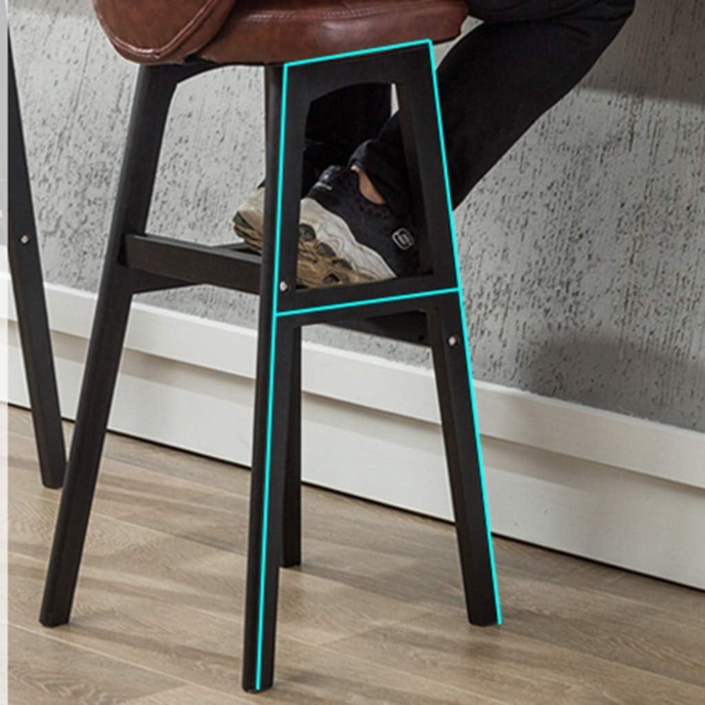 Tabouret de bar de petit déjeuner Tabouret de bar, chaise nordique simple en bois massif, dossier de café (Couleur : E) A