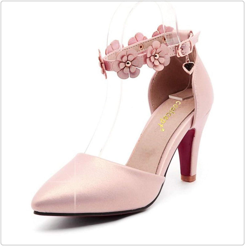 Yyixianma Size31-43 Women High Heel Sandals Women Flower Ankle Strap Pointed Toe Thin Heels Sandals Summer shoes Women Footwear Pink 9