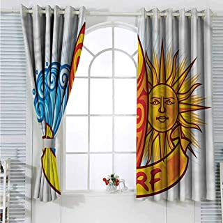 Living Room Curtain Surf,Sun and Ocean Waves Summer Dark Bedroom Living Curtain W63 x L63 inches