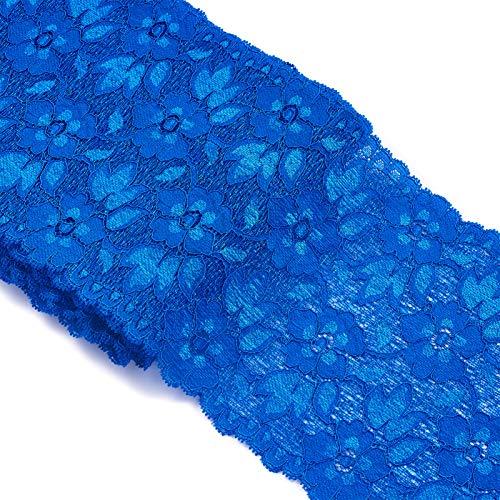 PandaHall Cinta de encaje floral azul de 16 cm de ancho, borde festoneado para ropa de novia, decoración de boda