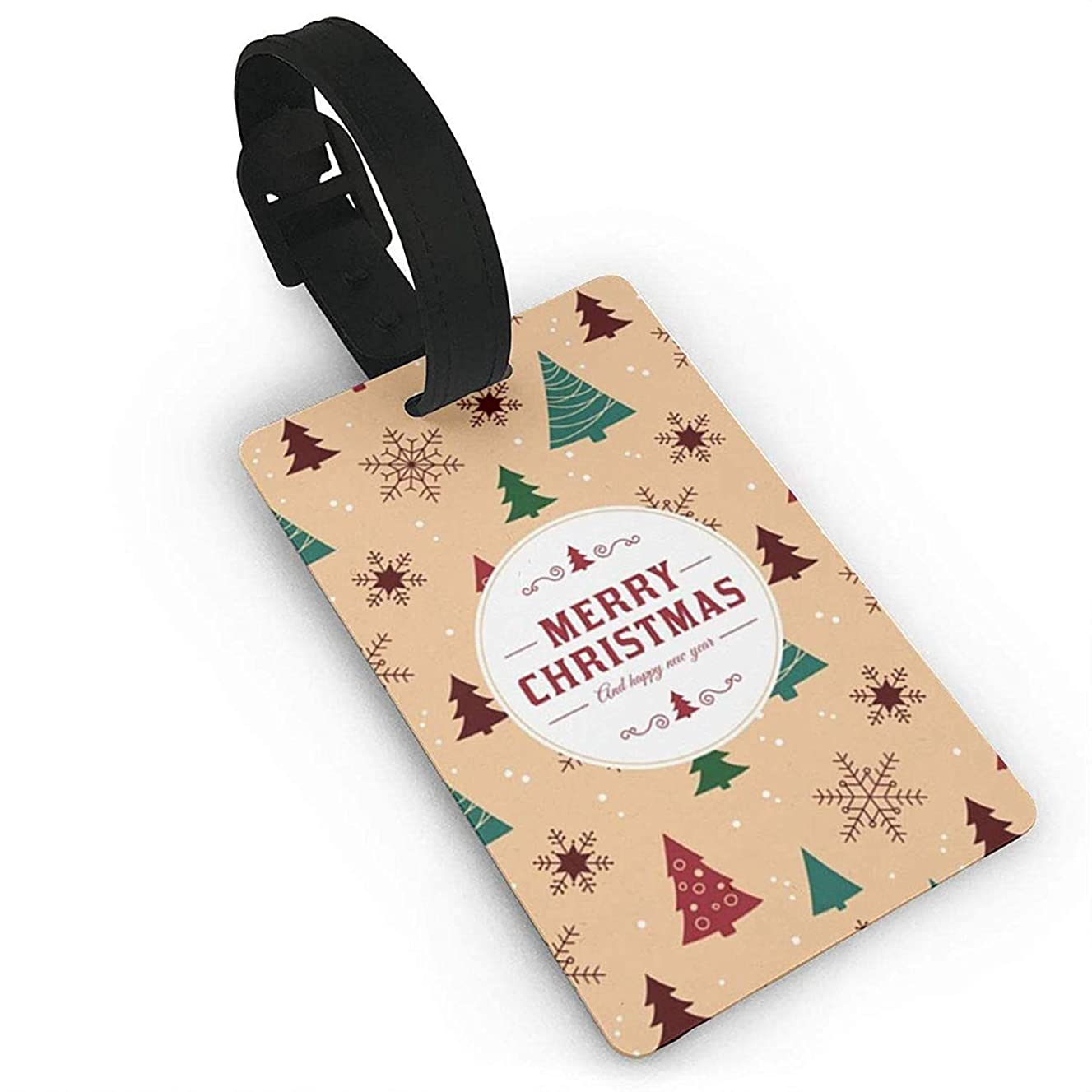 HappyToiletLidCoverX Luggage Tags Holders for Travel Luggage, Merry Christmas Snowflake Tree Background Plastic PVC Luggage Tags Suitcase Labels Travel Bag ID Tags Size 2.2 X 3.7 inches