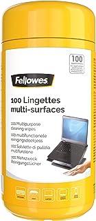 Fellowes Boite 100 Lingettes nettoyantes pour le Bureau, pour les claviers, écrans et accessoires, sans alcool, 8562801
