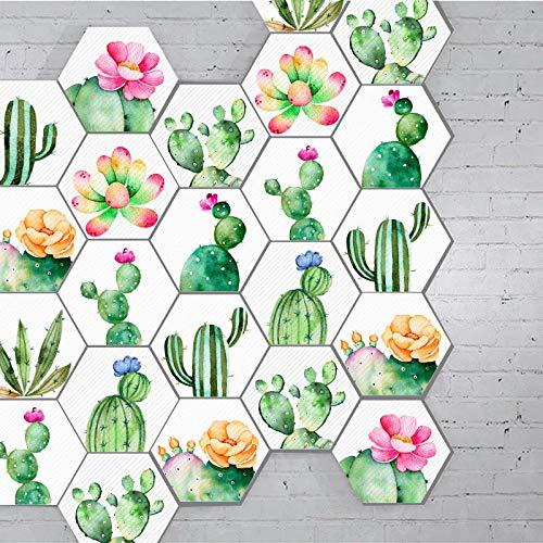 Prior.choice 10 Unidades de Adhesivo de Vinilo con Forma de Cactus Tropical, Color Verde, Autoadhesivo, Antideslizante, Impermeable, extraíble, PVC, para decoración del hogar, Suelo o Pared
