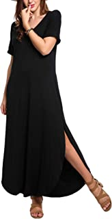 Women's Summer V Neck Puffy Short Sleeve Side Slit Long Oversized Split Maxi Dresses with Pockets