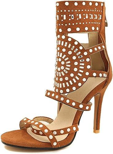 Zplschuhe Sandalias schuhe para damenes Tacones Nueva Peep Toe Transparente Stiefel Cortas De Plástico Sandalias De Cremallera De Las damenes Atractivas,braun,EU40 UK7