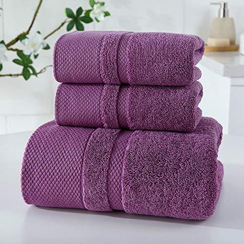 lianggehaizi Badetuch 3-teiliges Set Dickes Handtuch Geschenkbox-Set Gesichtshandtuch weich violett