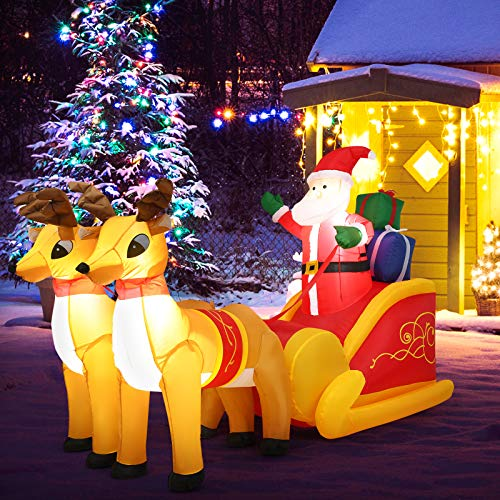 Tangkula 7.5 Ft Christmas Inflatable Santa Claus with Double Deer, Self Inflating Electric Blow Up Lighted Interior with Fan and Anchor Ropes, Indoor Outdoor Garden Yard Family Prop Decoration