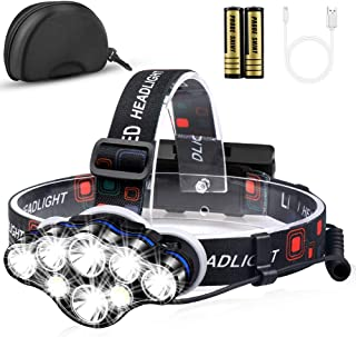 Headlamp, MOICO 13000 Lumen Brightest 8 LED Headlight Flashlight with White Red Lights, USB Rechargeable Waterproof Head Lamp, 8 Modes for Outdoor Camping Cycling Running Fishing